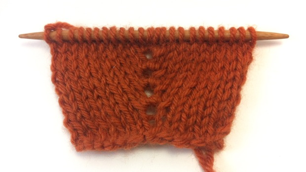 Example of the Knit One, Purl One, Knit One Double Increase on Stockinette Background
