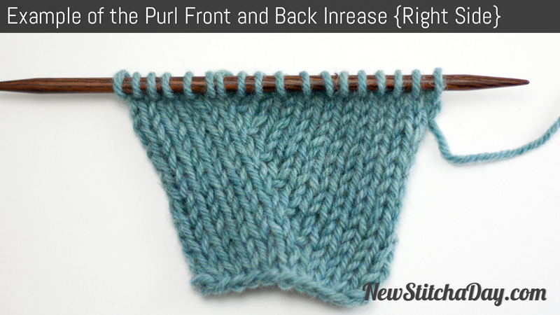 Example of the Purl Front and Back Increase (Right Side)