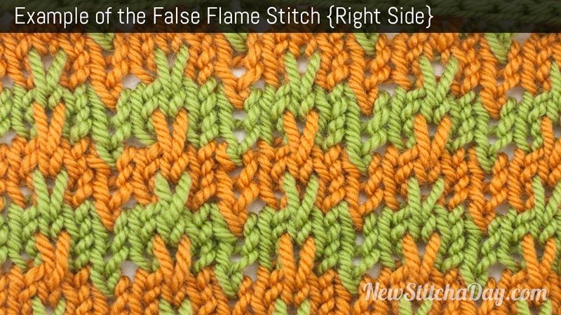 Example of the False Flame Stitch. (Right Side)