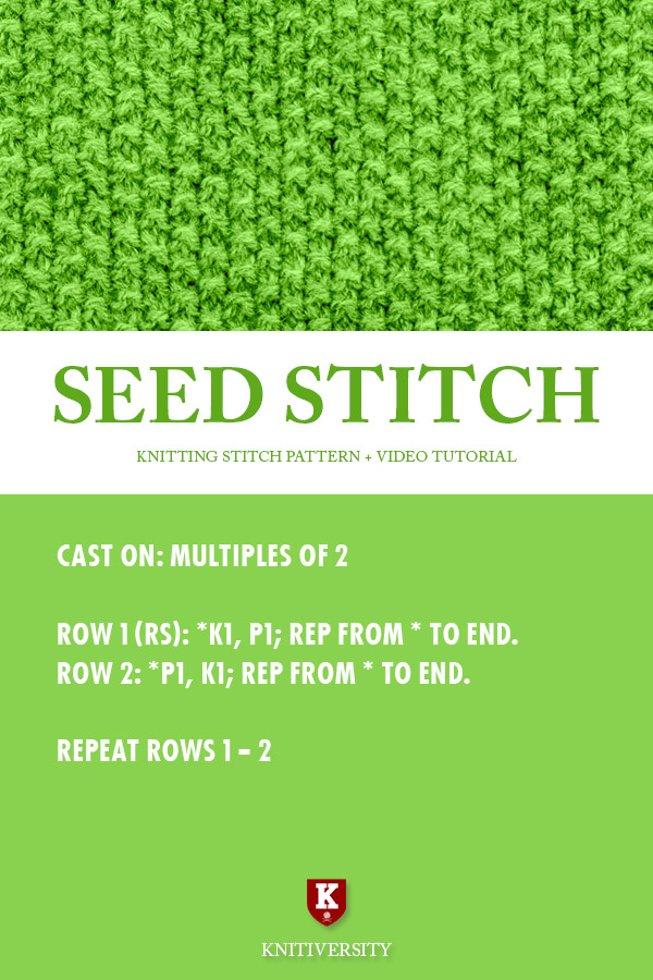 Seed Stitch Knitting Pattern Instructions