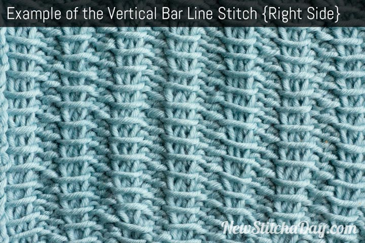 Example of the Vertical Bar Line Stitch Right Side