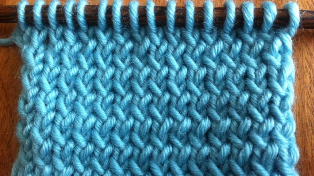 Example of stockinette knit through the back loop