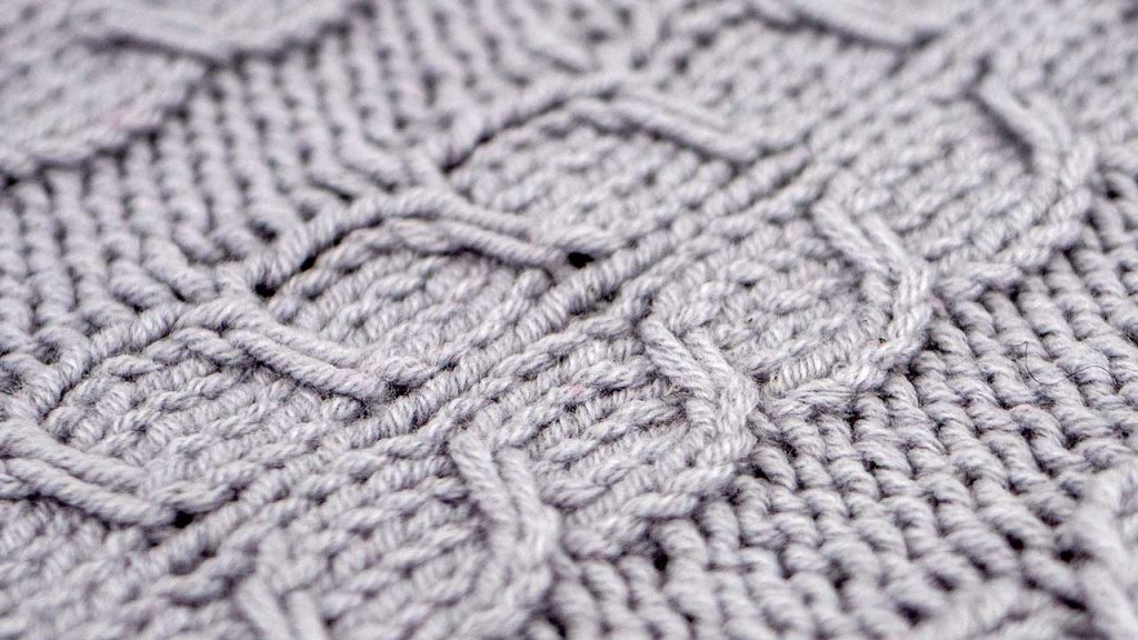 Detail of the Fishtail Cable Stitch Knitting Pattern