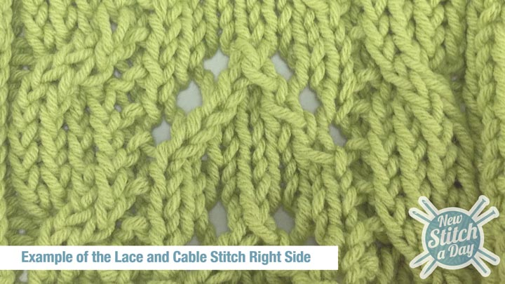 Example of the Lace and Cable Stitch Right Side
