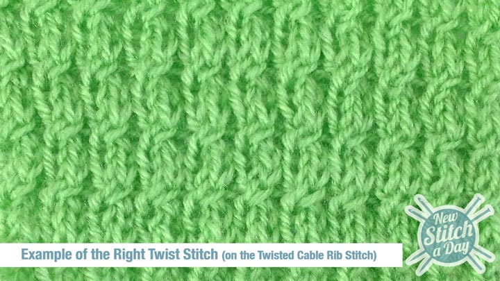 Example of the Right Twist Stitch (on the Twisted Cable Rib Stitch)