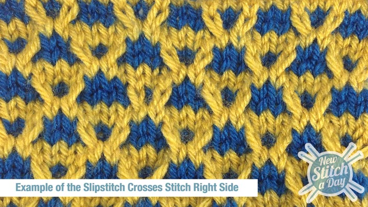 Example of the Slipstitch Crosses Stitch Right Side