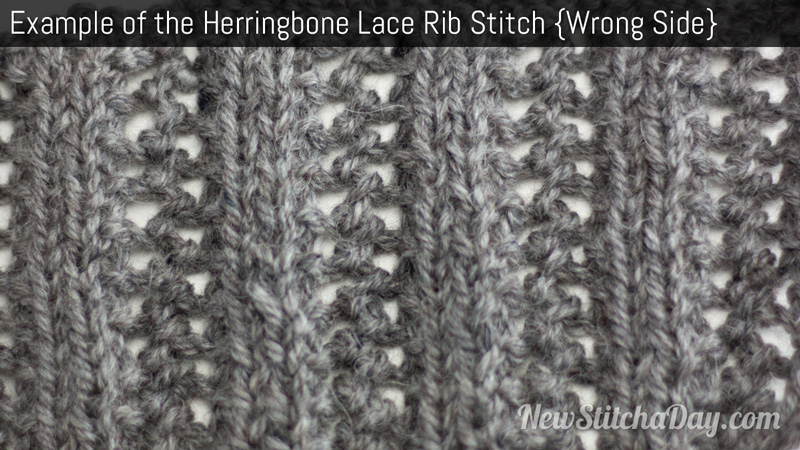 Example of the Herringbone Lace Rib Stitch Wrong Side
