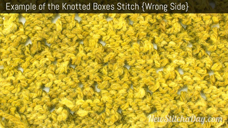 Example of the Knotted Boxes Stitch. (Wrong Side)