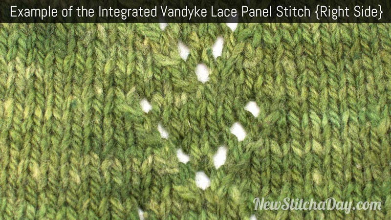 Example of the Integrated Vandyke Lace Panel Stitch. (Right Side)