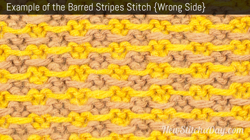 Example of the Barred Stripes Stitch. (Wrong Side)