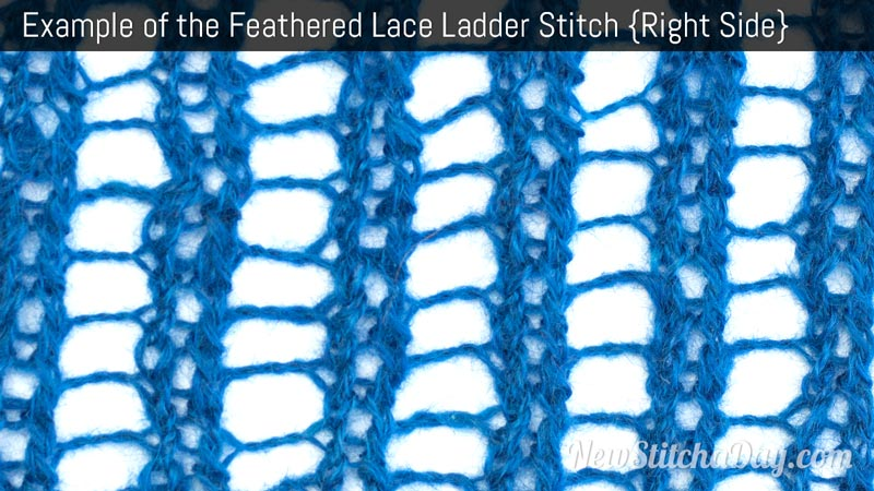 Example of the Feathered Lace Ladder Stitch. (Right Side)
