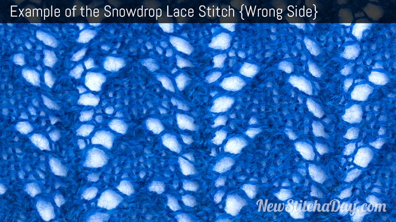 Example of the Snowdrop Lace Stitch. (Wrong Side)
