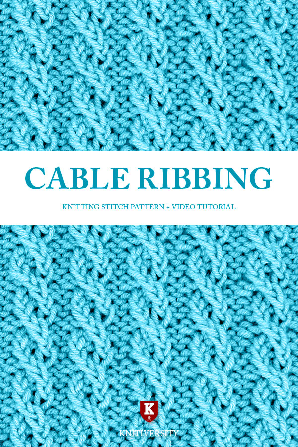 Cable Ribbing Stitch Knitting Pattern Tutorial